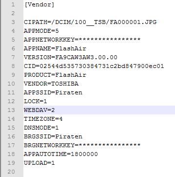 Aktuelle Konfig mit aktiviertem WebDAV
