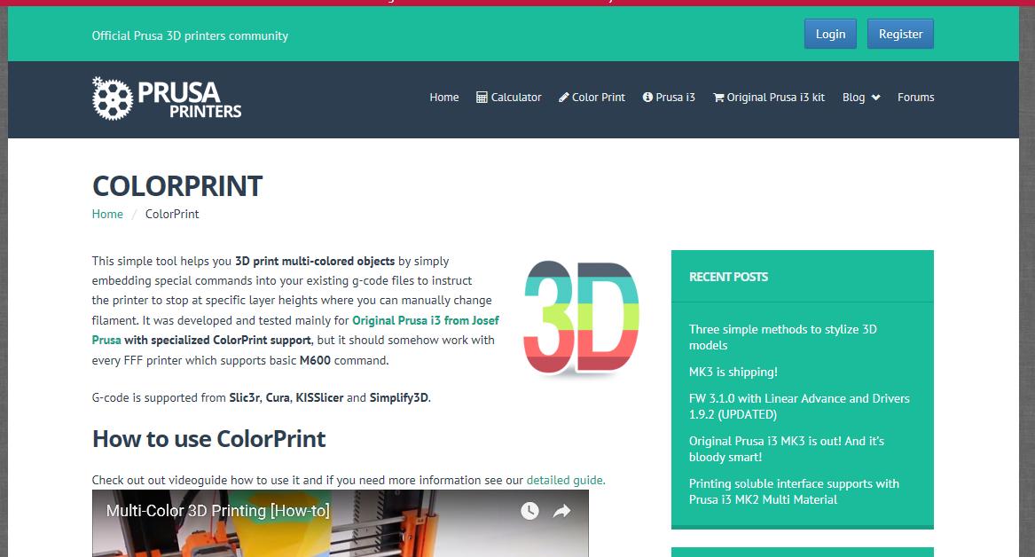 ColorPrint und Teile einlegen mit Slic3r und Cura